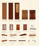 アメリカ様式の骨董品の純木(BR-NS001)の食器棚