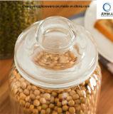 음식 급료 3PCS 세로줄 밀봉 유리 뚜껑을%s 가진 유리제 저장 단지