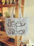 Sac 2017 de sacs à main d'achats d'emballage de toile de Bolsa Feminina de sac de tirette de plage estampé par chats de dessin animé de laine de bois Main Femme De Marque