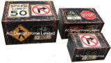 S/3 декоративные предметы антиквариата Vintage знак остановки дизайн прямоугольные печати фиолетового цвета кожи/MDF деревянные окна соединительных линий для хранения