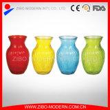 Vaso di fiore di vetro a buon mercato colorato polverizzato Semi-Colore di vetro colorato dei vasi