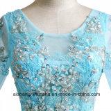 Краткость Sleeves a - линия Applique Пол-Длины отбортовывая платья выпускного вечера Tulle