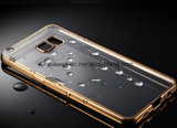 中国SamsungギャラクシーS7端の携帯電話のアクセサリカバーケースのための電気めっきの金の端が付いている卸し売り極めて薄いTPUの携帯電話の箱