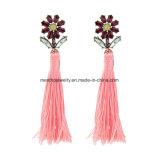Lange Troddel-Ohrringe für Frauen verzierte Kristallschmucksachen