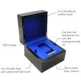 Reloj de caja de madera de encargo negro lacado caja de reloj de madera