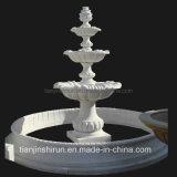 Piscina exterior esculpidos em pedra mármore branco água Pedestal paisagem de jardim Fountain (XF903)