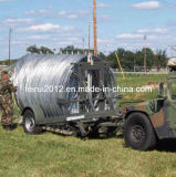 La policía y militares del sistema de barreras de alambre de navaja