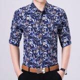 Camicia di polo di vendita del tasto degli uomini caldi giù con il fiore stampato