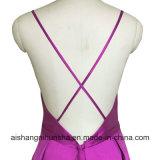 """A """"sexy"""" - linha vestido Backless do baile de finalistas da cinta de espaguete do cetim"""