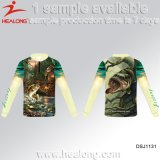 Healong dernière conception de vêtements de sport Protection UV sublimation 3D-T-shirt de la pêche