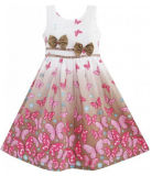 Robe de filles Brown Butterfly double le filtre Bow Tie Parti taille Sundress 4-12