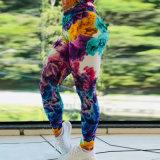 Através de alta qualidade calças de ioga de poliéster de alta Estrangulados Workout Ioga Perneiras para meninas