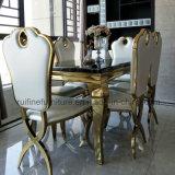 현대 우아한 스테인리스 식당 테이블과 Throne Side Dining Chair 가짜 가죽 대중음식점 임금 하락 물은 결혼식 연회를 위해 높이 역행시킨다