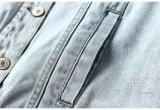 Customizable 패턴 평상복 및 밝은 파란색 자수 데님 재킷