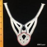 broderie géométrique de lacet de beauté de motif colorée par usine de 37*37cm garnissant l'Applique nuptiale pour la décoration Hm2042 de collier