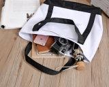 Sacchetto di Tote promozionale di acquisto della tela di canapa Mixed in bianco e nero su ordinazione del tessuto
