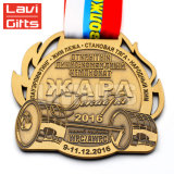 La promotion a personnalisé la coutume 3D estampant la médaille en métal d'antiquité de sport de récompense de souvenir de championnat de bâti avec la bande faite sur commande