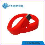 Mecanismo impulsor del flash del USB de la pulsera con insignia de encargo