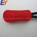 Heißer Verkaufs-kundenspezifischer weicher Reißverschluss zieht PVC/Rubber Reißverschluss-Abzieher mit Firmenzeichen