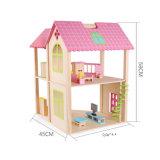 실행 아이를 위한 가구를 가진 나무로 되는 인형의 집 에뮬레이션 별장을 가장하십시오