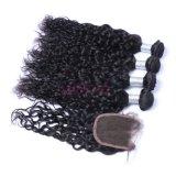 Commerce de gros vague naturelle des cheveux brésiliens tissu avec fermeture
