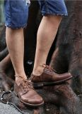 Holaは人のためのブラウンの形式的な革靴に蹄鉄を打つ