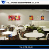 Tableau dinant rond d'aliments de préparation rapide de meubles en pierre de marbre artificiels de restaurant