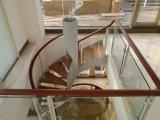 Escalera comercial de los edificios con el vidrio Tempered y Handrial de madera