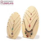 Support d'étalage de bijou de collier de compteur en bois solide