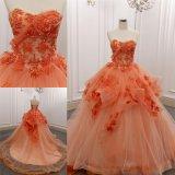 Trägerloses orange Spitze-Tulle-Ballkleid-grosses Serien-Abend-Kleid