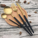 高い等級の金によってめっきされるディナー・ウェアのスプーンのフォークおよびナイフセット、ステンレス鋼の食事用器具類セット