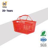 68L grand supermarché de grande taille Rolling panier de magasinage en plastique