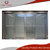 Puerta deslizante de cristal doble modificada para requisitos particulares del aluminio 3-Track con el obturador