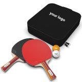 4 Jogadores em raquete de tênis de mesa e conjunto de esferas com bolsa de transporte em nylon