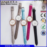 Montre-bracelet classique de femme de mode de quartz de courroie en cuir (Wy-082E)