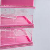 Cor cor-de-rosa transparente que revolve o indicador acrílico do suporte do batom de 78 compartimentos
