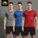 人の圧縮のTシャツによって印刷されるワイシャツのスポーツの上