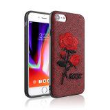 プラスiPhone 8のための新しい3Dレトロの刺繍されたローズの花の無光沢の革裏表紙の箱