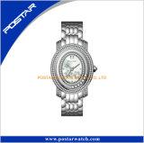 卸し売り黒いめっきのダイヤモンドの普及した製品の女性腕時計