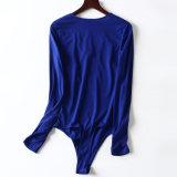 Sprung-neue Form reizvoller V-Stutzen mit einem langer Hülsen-Overall-Long-Sleeved Hemd der Damen