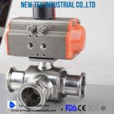 Type sanitaire acier inoxydable du robinet à tournant sphérique de Triclamp SS316 d'économie 3-Piece