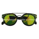 La mode des lunettes de soleil Tortue avec double pont métallique de lentilles de tac