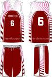 100%Polyesterカスタムチーム昇華バスケットボールのジャージーのロゴデザイン