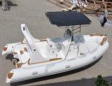 China 5.8m costilla Deluxe casco de fibra de vidrio bote inflable rígido barco