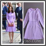 Способ женщин одевает пурпуровую длиннюю партию a втулки - линию платье