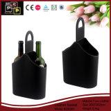 Exquisita Botella de vino personalizada cesta de cuero de regalo (2383)