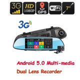 """7 """" 1080P Auto-hintere Ansicht-Spiegel-Monitor-Rückseiten-Kamera AutoDVR GPS WiFi 3G des Android-5.0"""