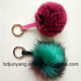 O Pompom da pele do falso da pele POM Keychain Assorted Pompoms coloridos