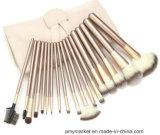 ナイロンファイバーのシャンペン白いカラー化粧品はブラシセットに12/18/24 PCSを構成する