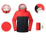 Revestimento de costura ao ar livre feito sob encomenda do inverno dos homens do revestimento do vento da cor com capa